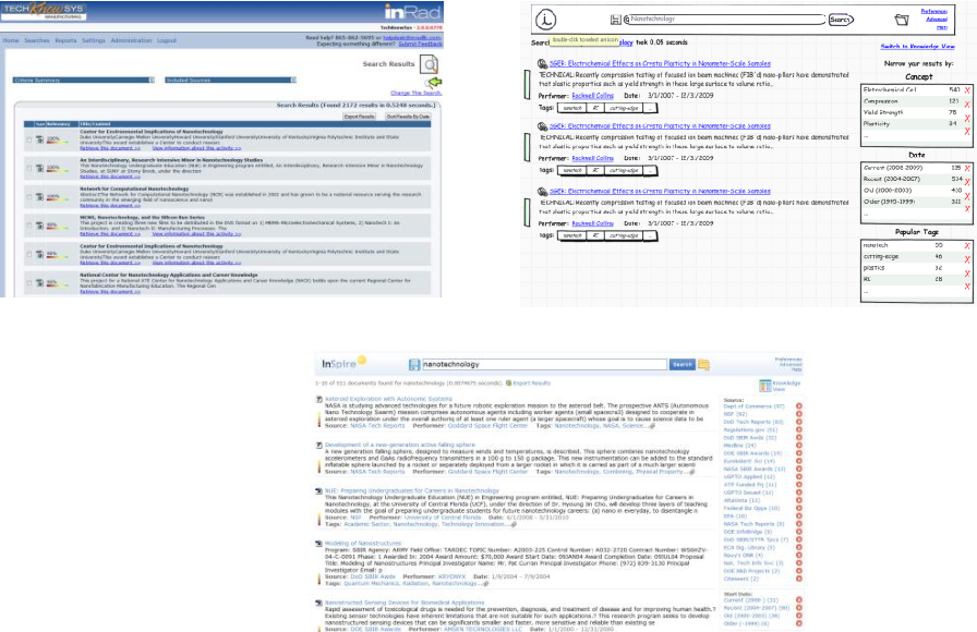Figure 4 – Search results before, mockup, and final result