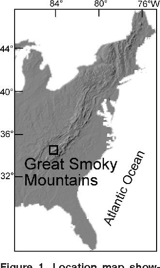 Figure 1. Location map showing Great Smoky Mountains at southern end of Appalachian Mountains. Digital elevation model source: http://fermi. jhuapl.edu/states/us/uspmap. html, accessed August 2002.