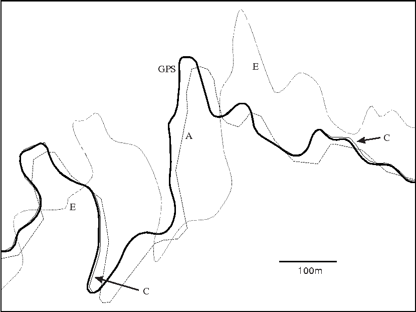 Figure 6. Overlay of maps A, C and E, and GPS data (bold). C is almost completely obscured due to its agreement with GPS. E is grossly inaccurate, but shape points are dense and curves are smooth. A is relatively true but generalized.