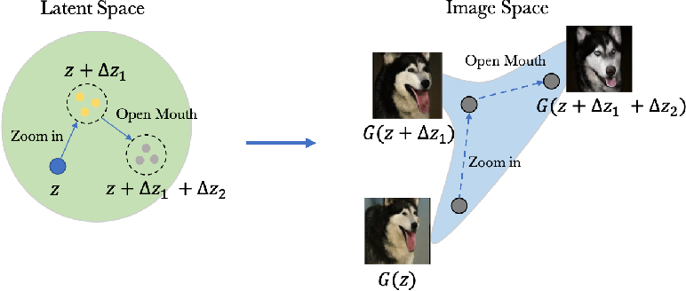 Figure 2 for Unsupervised Discovery of Disentangled Manifolds in GANs