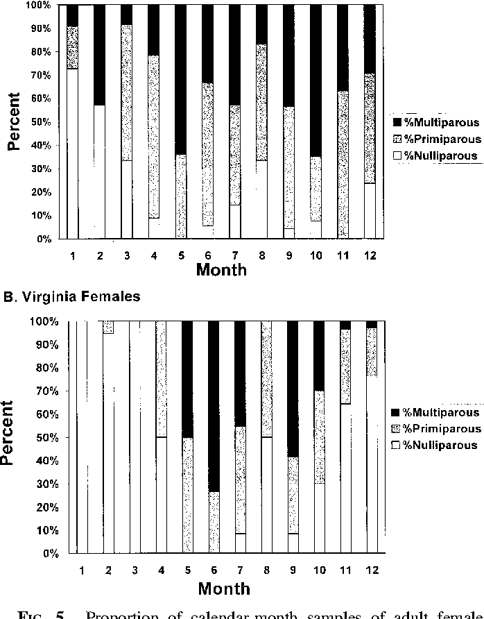 FIG. 5.—Proportion of calendar-month samples of adult female cotton rats from Georgia and Virginia that were nulliparous, primiparous, and multiparous at time of capture, as assessed by examination of the uterus and ovaries (see text for further explanation). Calendar months January (1) through December (12) combined for all years (see Appendix I for sample sizes).