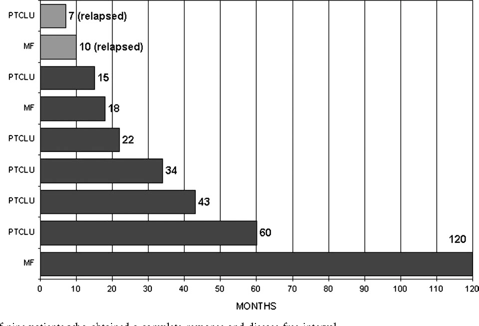 Figure 1. Outcome of nine patients who obtained a complete response and disease-free interval.