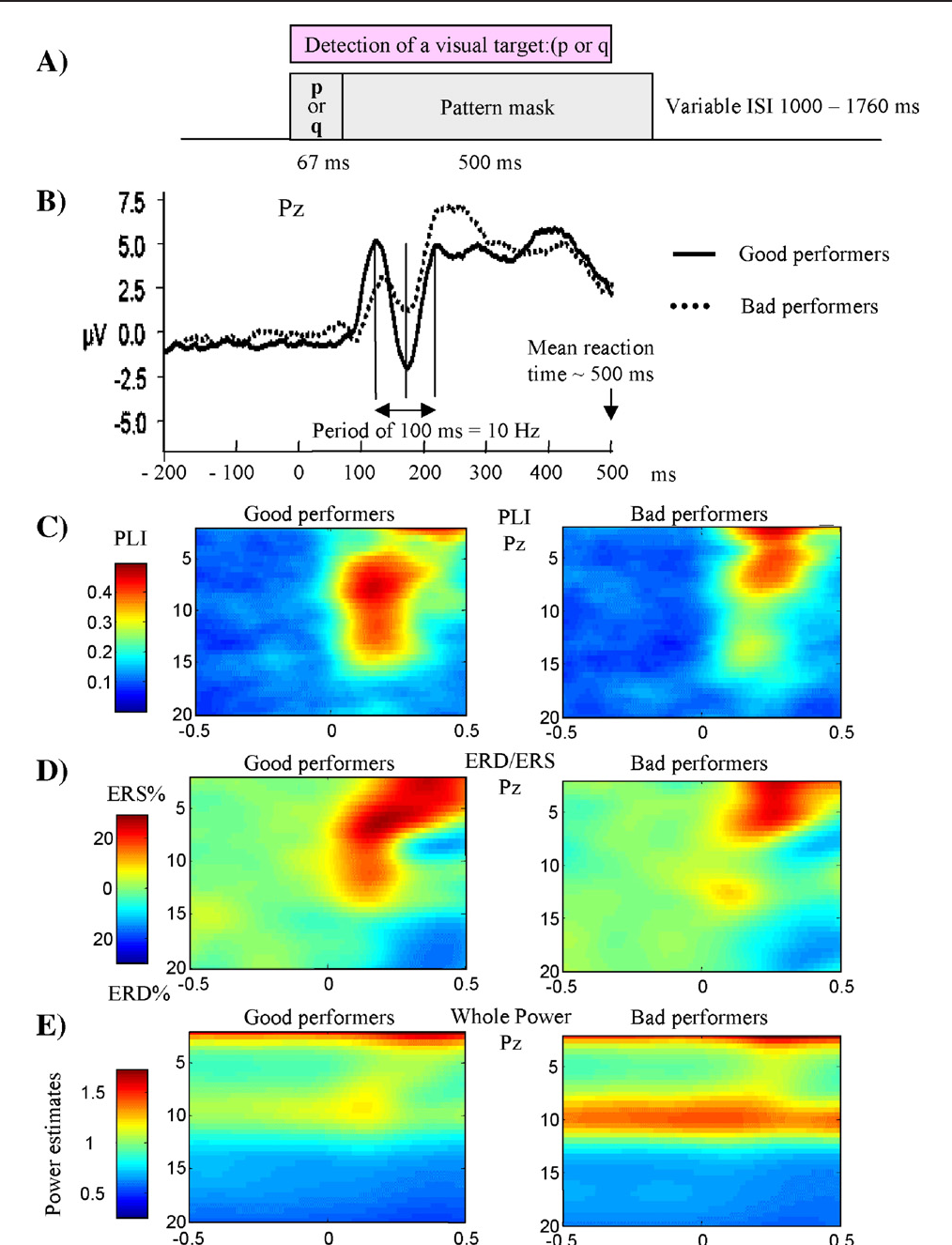 Fig. 7 – In a visual target detection task in which subjects had to identify briefly exposed letters (A), the event-related alpha response is primarily characterized by phase locking and not by power changes (reprinted from Hanslmayr et al., 2005a, with permission from Elsevier). (B) The waveform of ERPs is characterized by evoked alpha activity, which is more pronounced for good performers. (C) The extent of alpha phase reset, as measured by the phase locking index (PLI) is larger for good than bad performers. (D) The event-related change in upper alpha is characterized by ERS and a complete lack of ERD. (E) The lack of desynchronization and the large differences in prestimulus power between good an bad performers is clearly evident in the time/frequency/(wavelet) power plot.