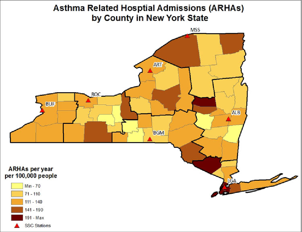 Figure 5. Mean annual ARHA rate by county in NYS. Rate is calculated as the mean total number of admissions per 100,000 population per year.