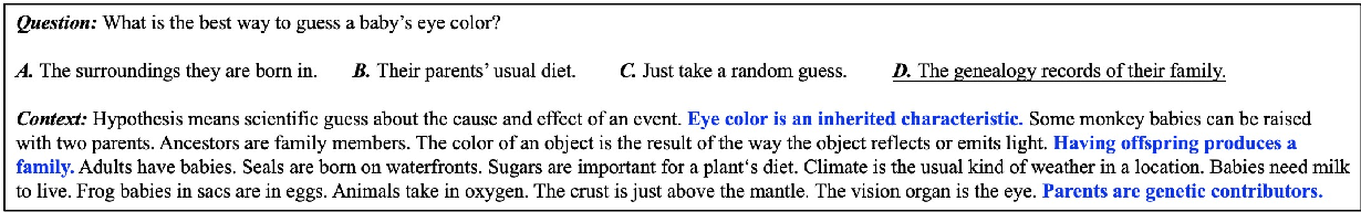 Figure 1 for Context Modeling with Evidence Filter for Multiple Choice Question Answering