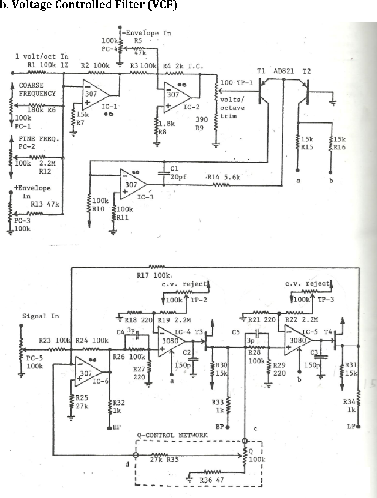Figure 6 From Analog Synthesizer Project 101 Final Envelope Schematic Voltage Controlled Filter This Is Courtesy Of Electronotes By Bernie