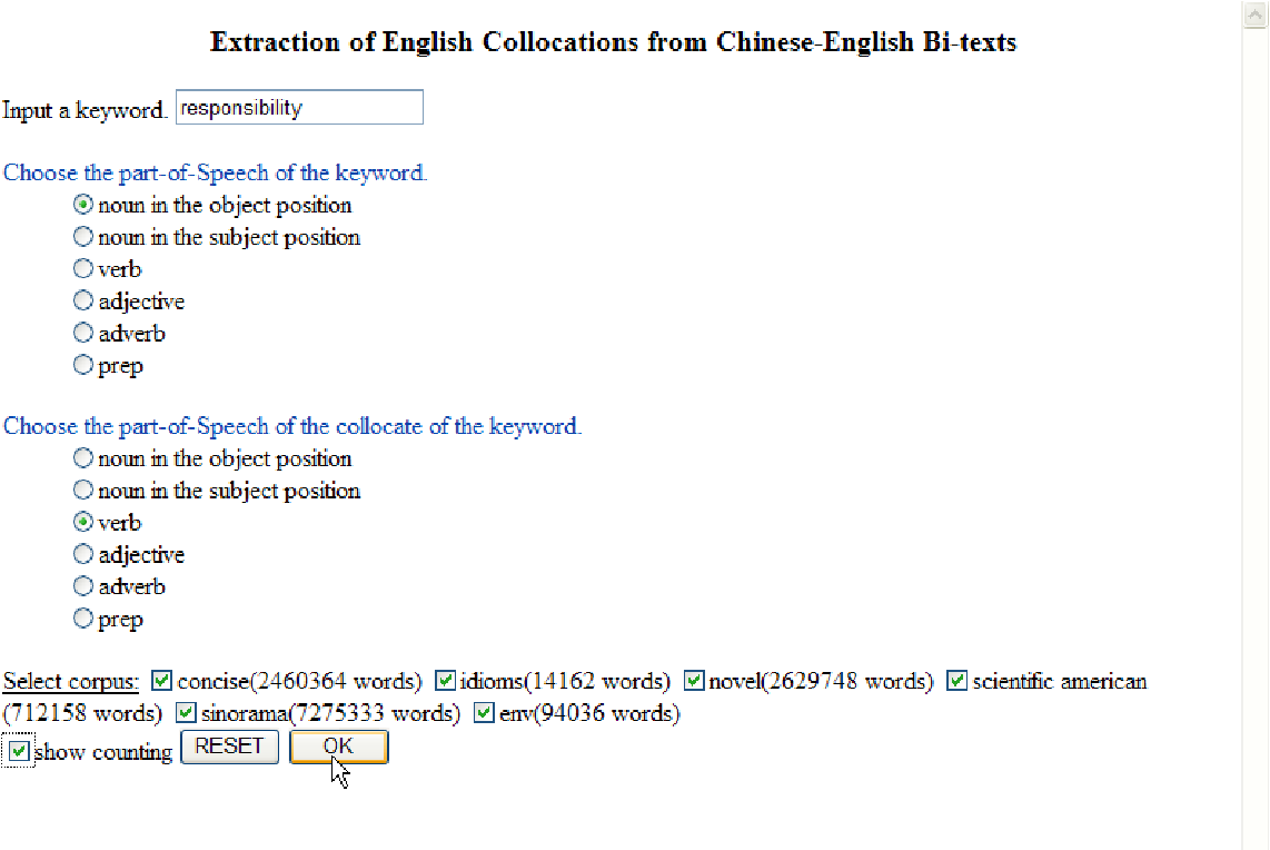 Automatic Extraction Of English Collocations And Their Chinese