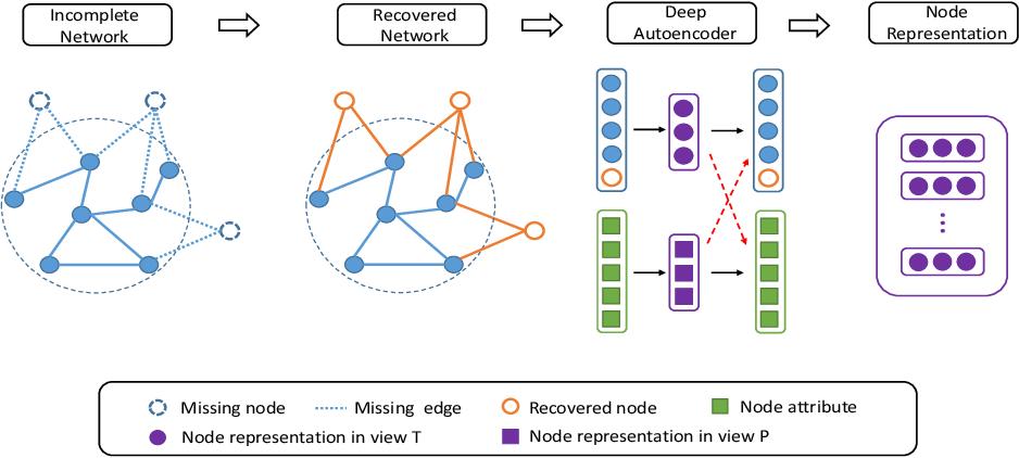 Figure 1 for DINE: A Framework for Deep Incomplete Network Embedding
