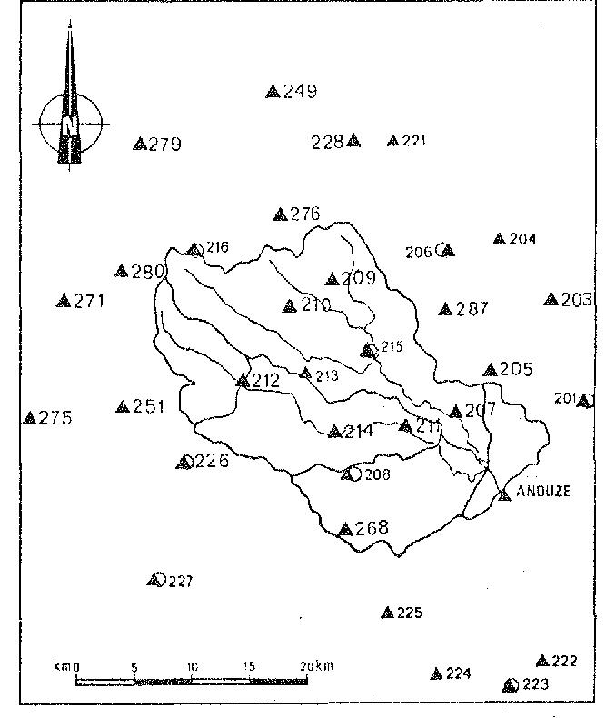 Fig. 5. Gardon d'Anduze watershed and raingauge network(