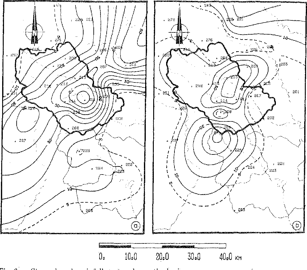Fig. 6. a. Strong hourly rainfall centered over the basin. b. More complex structure with a cell on the border of the basin.