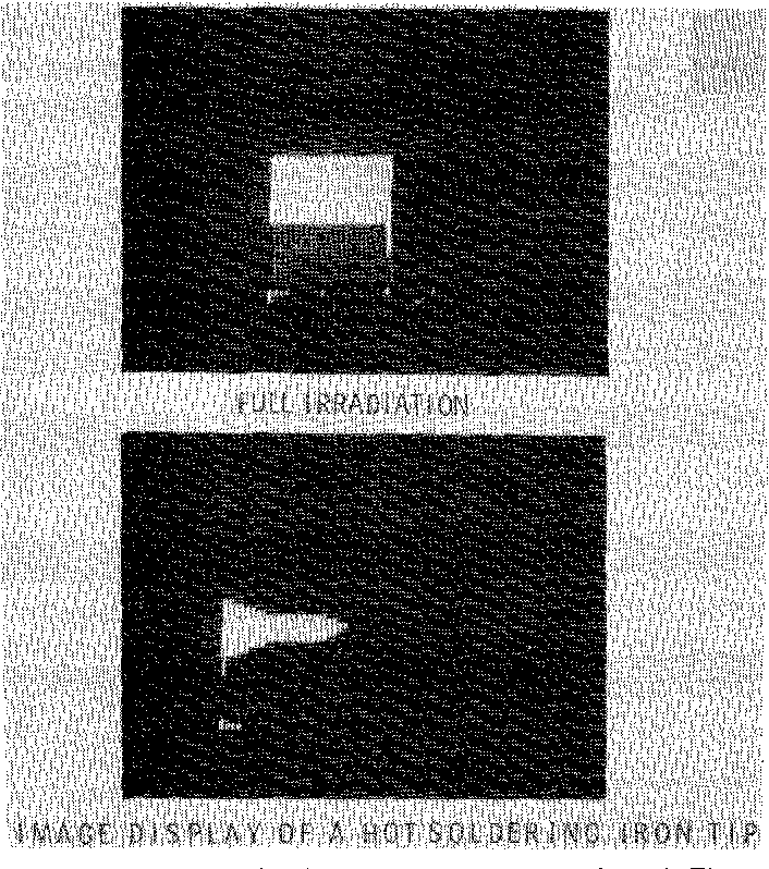 Fig. 13. Additional video displays of the same array shown in Fig. 12. There is no sign of blooming in the column lines for the image of soldering iron tip, indicating a good charge transfer.