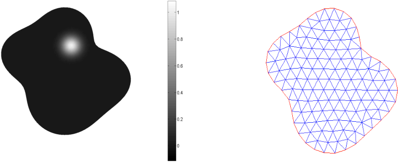 Figure 6. Left: exact solution. Right: an example of the mesh used for the domain.