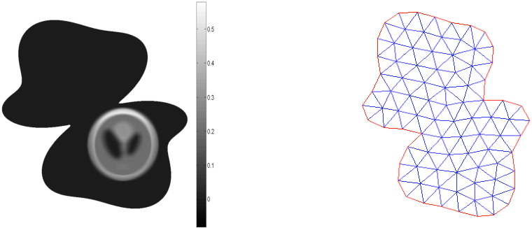 Figure 10. Left: exact solution. Right: an example of the mesh used for the domain.