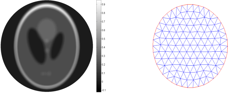 Figure 2. Left: exact solution. Right: an example of the mesh used for the domain.