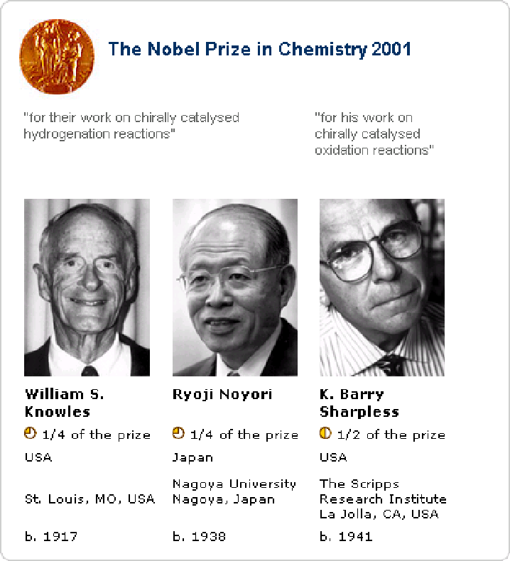 nobel prize in chemistry 2001 shared by w s knowles r