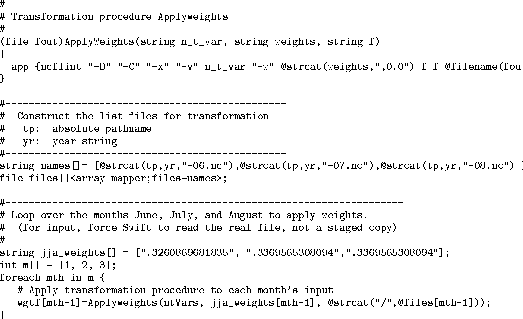 Parallel high-resolution climate data analysis using swift