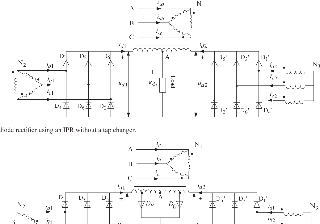 six-phase diode rectifier using an ipr without a tap changer