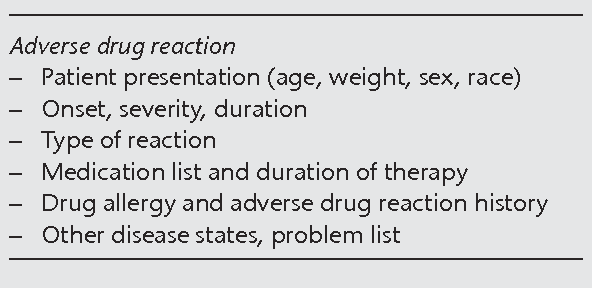 Table 1 Sample of the background information checklist: routine questions concerning adverse drug reactions