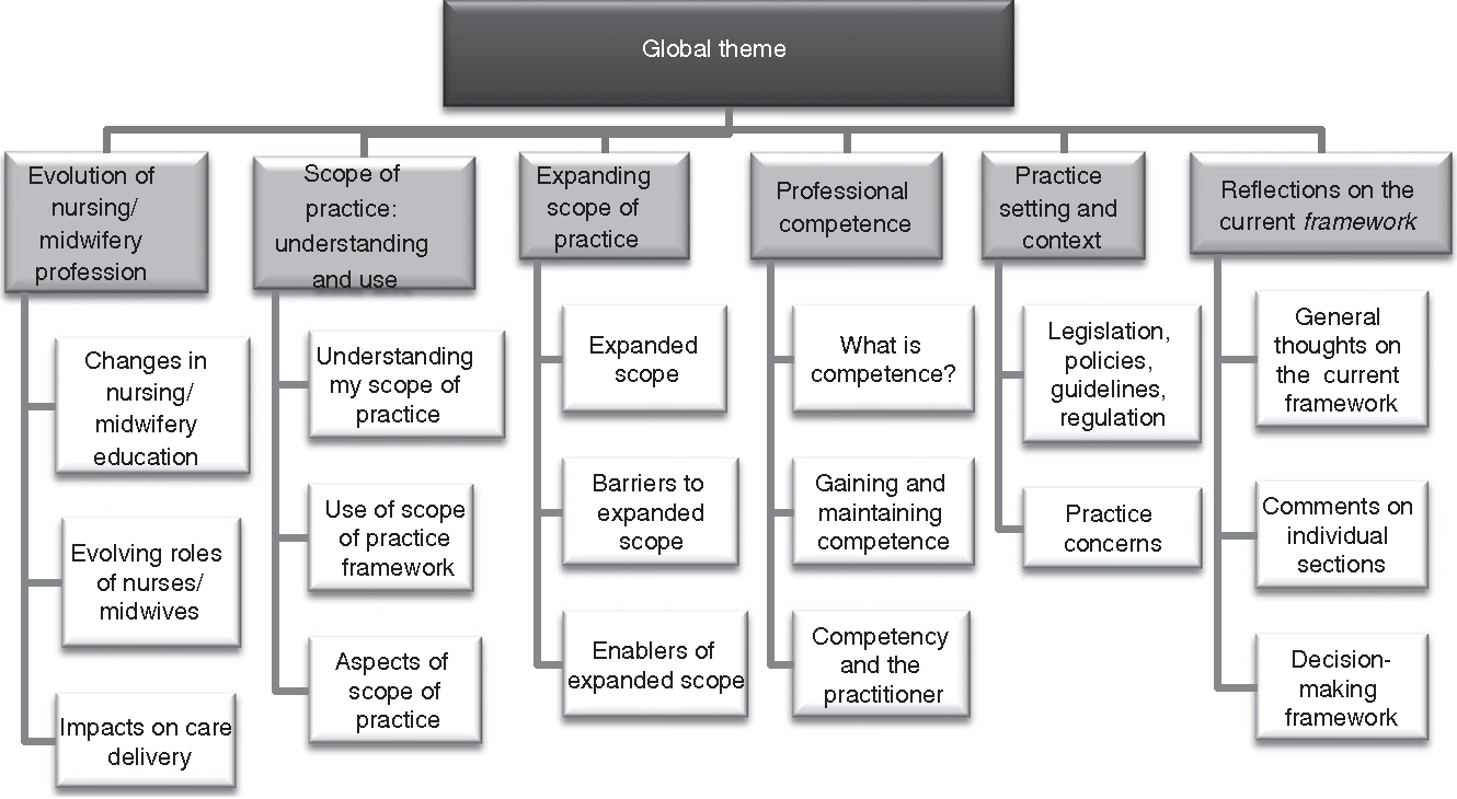Figure 1 Stakeholder consultation, global theme and organising themes.