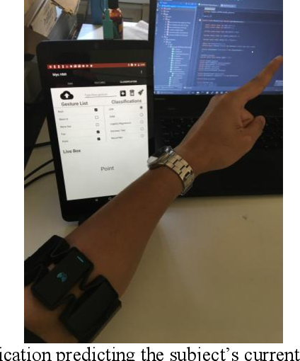 Figure 4. The Android application predicting the subject's current gesture (point) in real time.