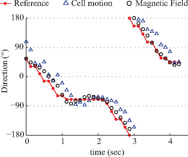 Fig. 8. Direction of motion of T. pyriformis (blue triangle), magnetic field direction (black circle), and reference between previous and current targets (red line) for real-time feedback control of T. pyriformis.