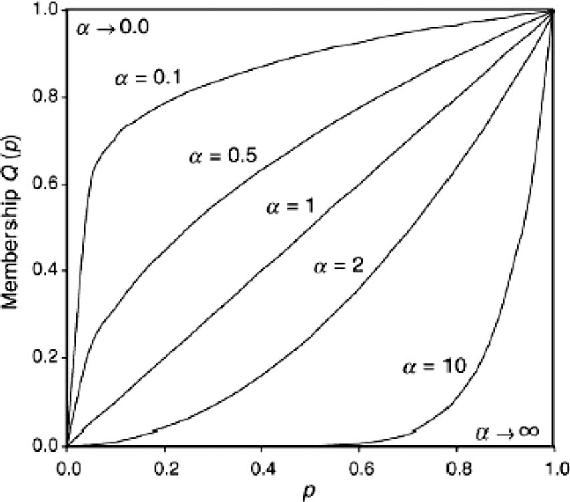 Fig. 1. Membership functions of different RIM quantifiers [17].