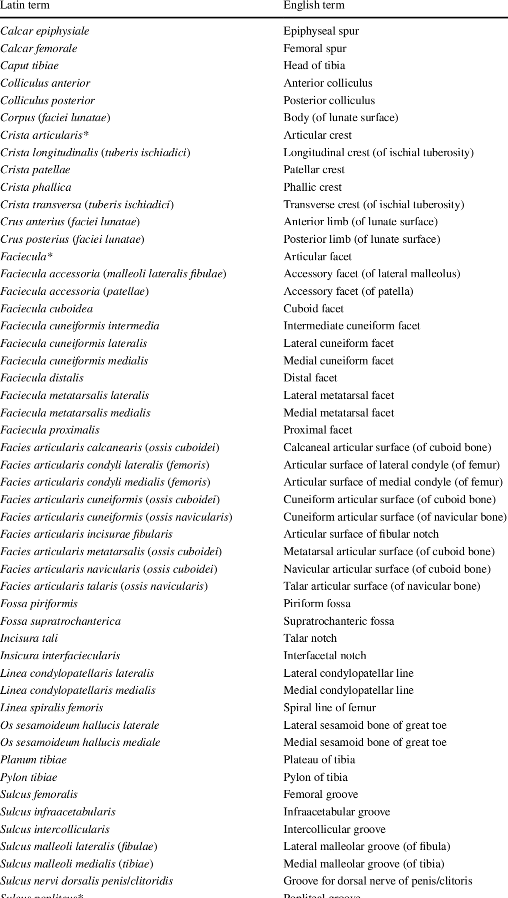 Contribution to the anatomical nomenclature concerning lower limb ...