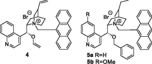 Fig. 1. Chiral phase-transfer catalyst O-allyl-N-9-anthracenylmethyl-cinchonidinium bromide 4 [39] and the structurally optimized cPTC derivatives 5a and 5b (based on quinine [40]).