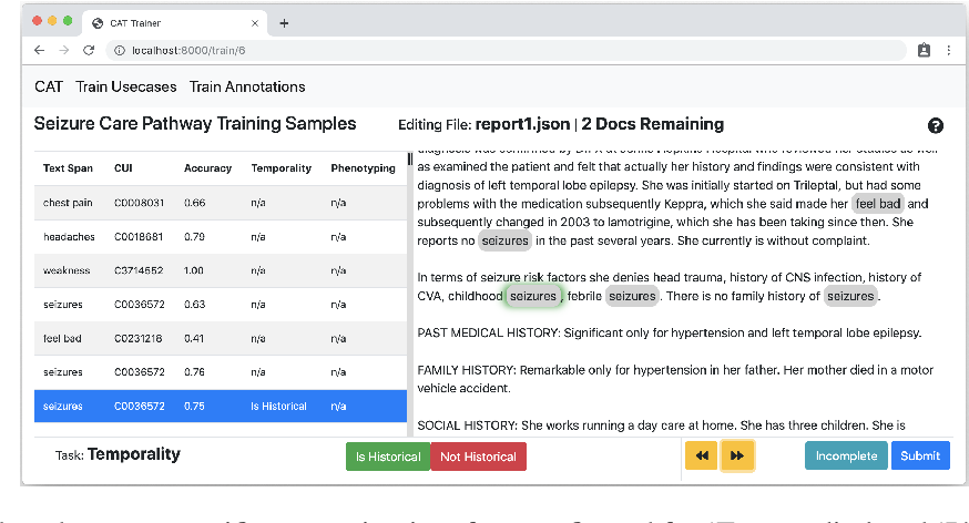 Figure 2 for MedCATTrainer: A Biomedical Free Text Annotation Interface with Active Learning and Research Use Case Specific Customisation