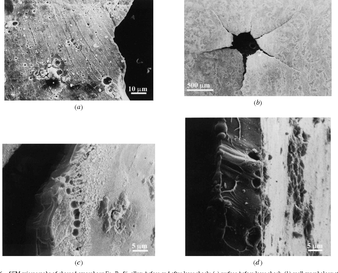 Fig. 6—SEM micrographs of charged amorphous Fe80B11Si9 alloy, before and after laser shock: (a) surface before laser shock, (b) spall morphology at the rear surface, (c) voids coalescence near the fracture surface, and (d ) vein pattern and voids on the fracture surface.