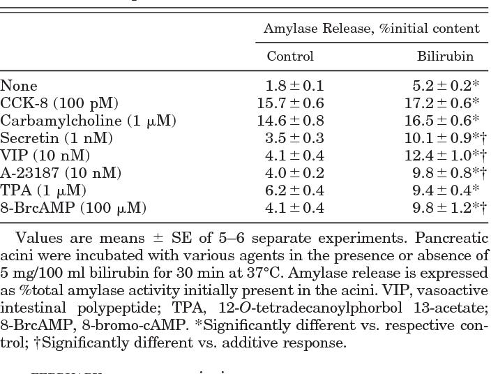 Stimulatory Effects Of Bilirubin On Amylase Release From Isolated