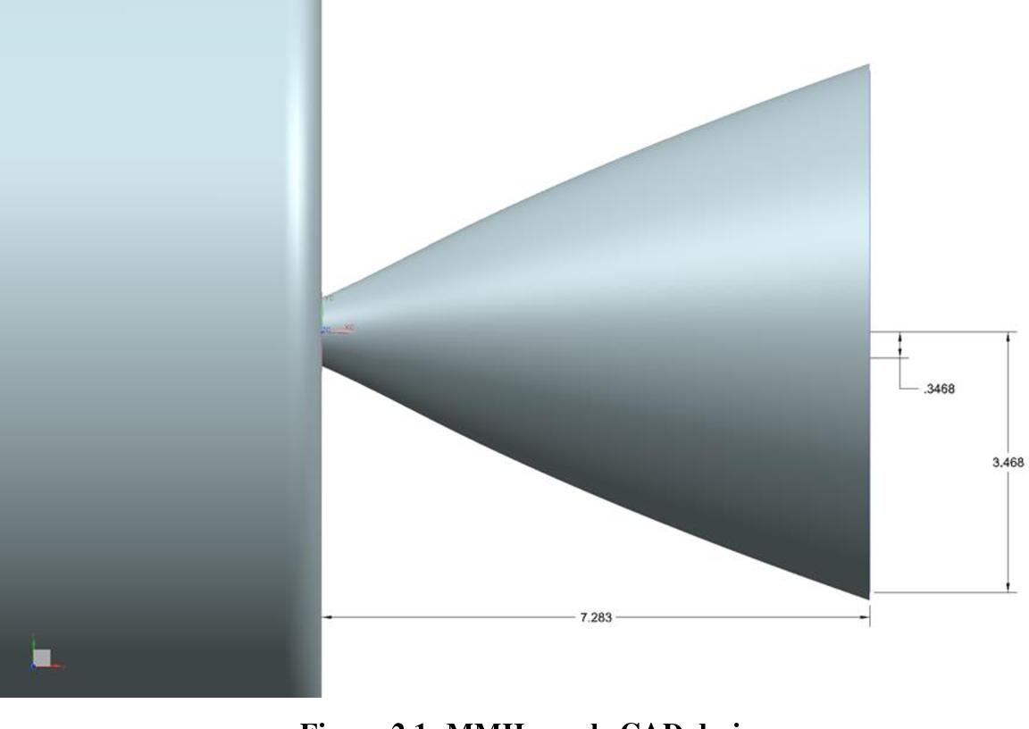 Figure 2.1- MMH nozzle CAD design
