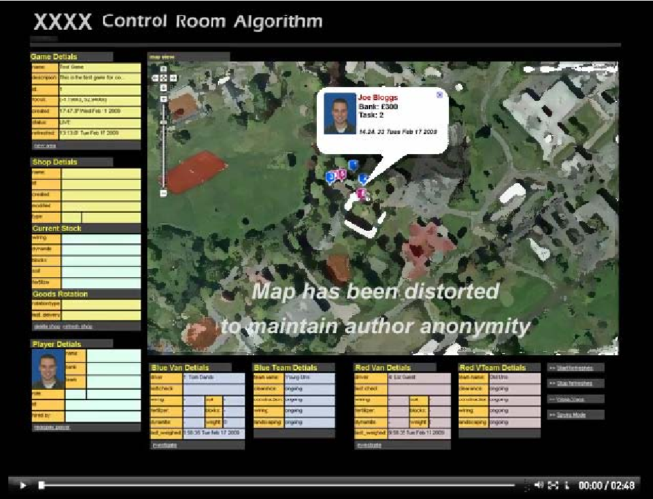 Fig. 2. The Control Room interface showing the game play activities in real time.