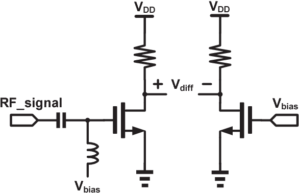 Fig. 2. Schematic of the RMS power detector [5]