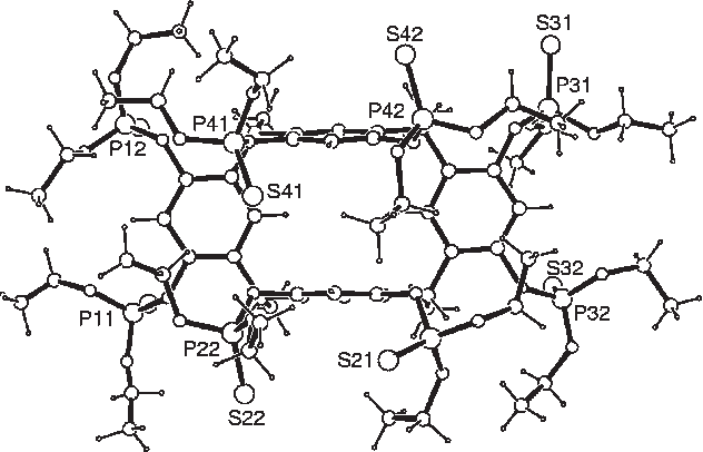 Figure 9. Side (upper) and top views of 2. For clarity, only some phosphorus and sulfur atoms of the upper rim O-(PdO)(O CH2CH3)2 pendant arms have been identified to show the numbering scheme. The smallest disks indicate oxygen atom.