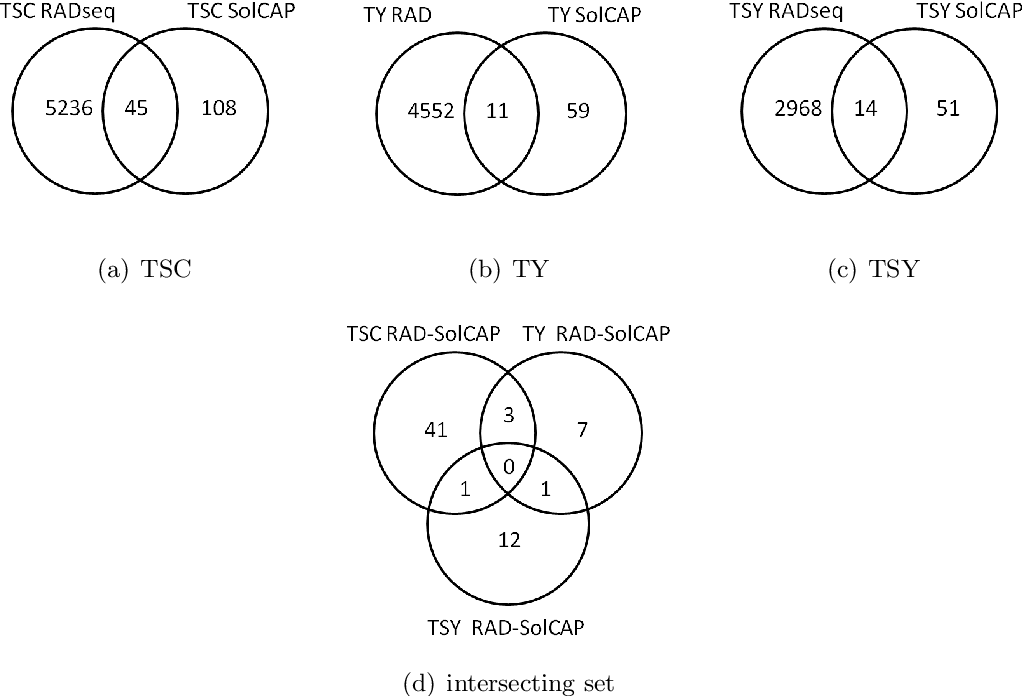 Figure 4.2.: Venn diagrams of the loci detected by RAD sequencing (at least one significant SNP per locus) and SolCAP Potato Array genotyping of the case-control studies for TSC (a), TY (b) and TSY (c) and the intersecting set (d). The compared loci contained at least one significant (α=0.01) SolCAP SNP (Appendix Table B.17) or one significant (FDR <0.05) RAD sequencing SNP