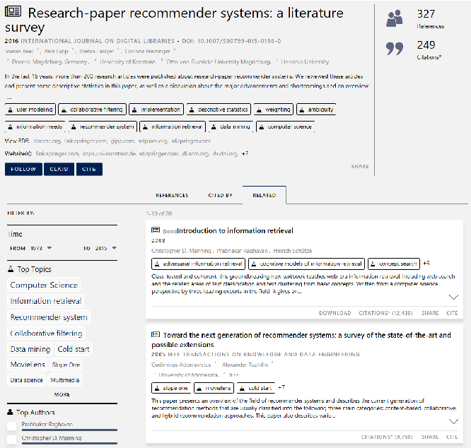 Figure 3 for A Scalable Hybrid Research Paper Recommender System for Microsoft Academic