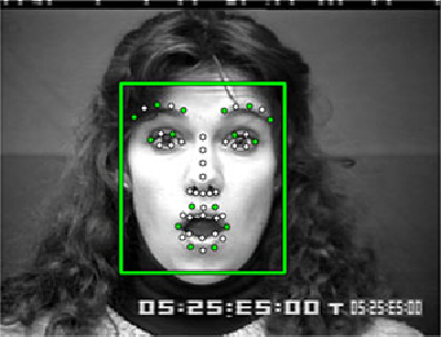 Fig. 10. Sample frame of the CK+ dataset. The green rectangle shows the cropped part of the image and the dots are the detected facial landmarks. The 16 selected landmarks are highlighted in green (better seen at a high magnification).