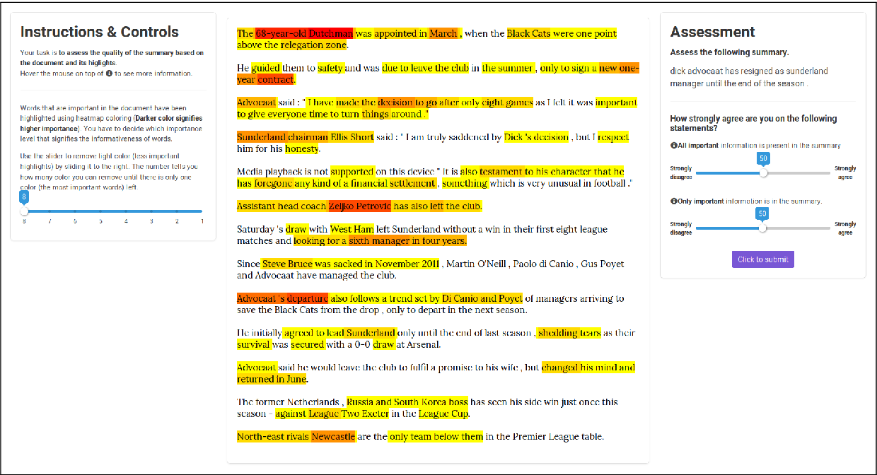 Figure 4 for HighRES: Highlight-based Reference-less Evaluation of Summarization