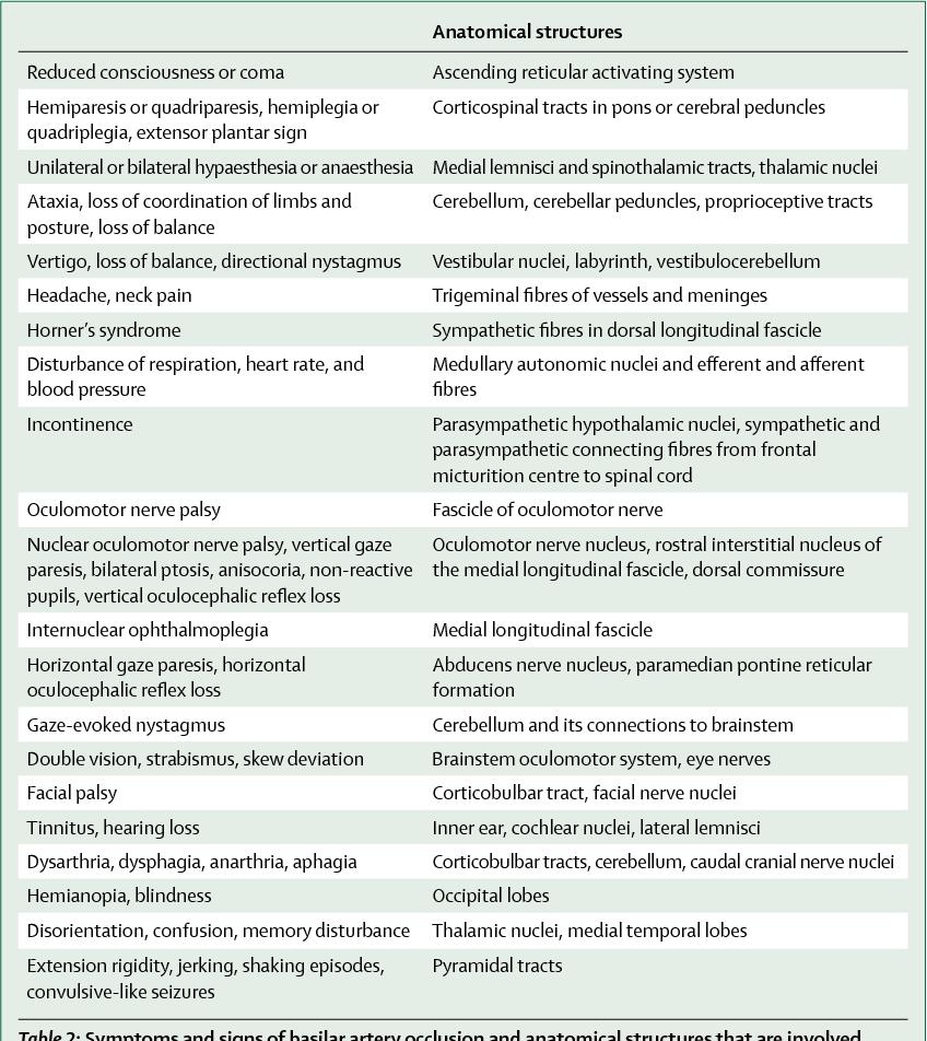 Table 2 from Basilar artery occlusion. - Semantic Scholar