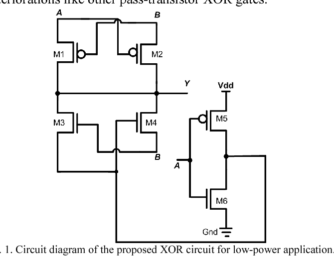 Figure 1 from Topology of 2 input subnanowatt XOR gate in 65 nm CMOS on xor logic gates diagram, nmos schematic diagram, logic circuit diagram,