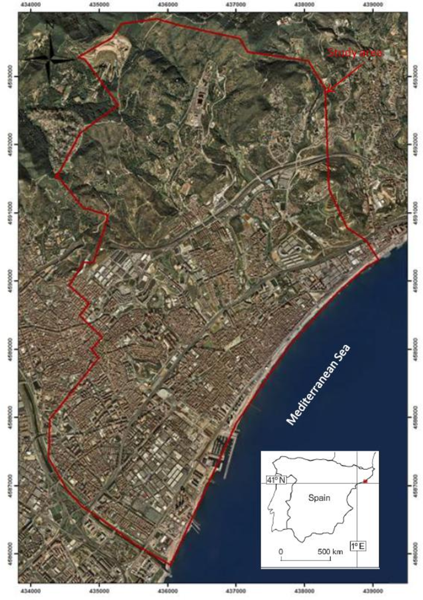 Figure 4.10. Ortograph of the study area that correspond with Badalona Drainage Basin. Coordinates are in Universal Transverse Mercator (UTM), zone 31.