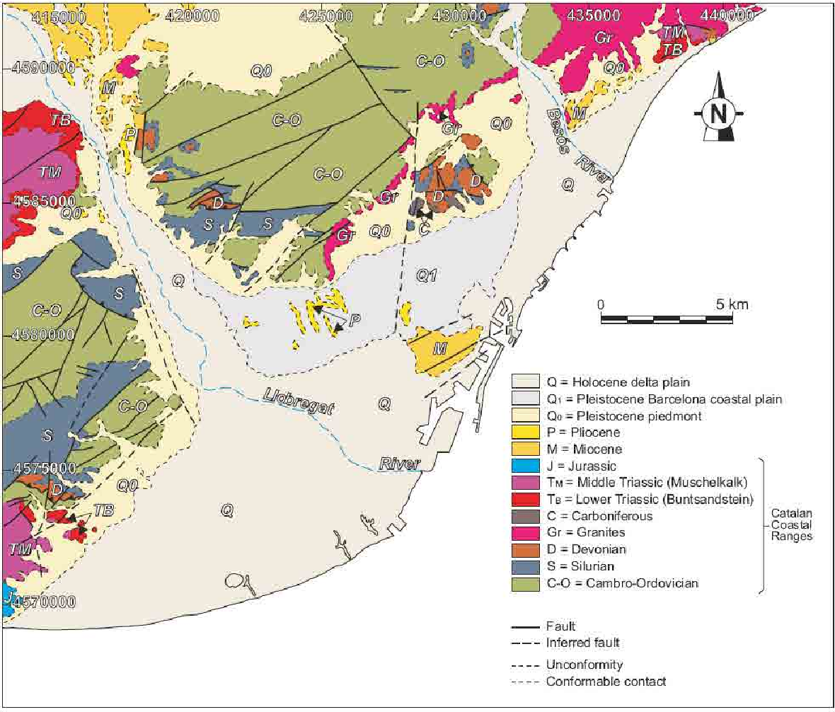 Figure 5.2. Geological map of the Besòs and Llobregat deltas, and adjacent zones (see the corresponding orthophotograph with the extent of the emerged deltas in Fig. 5.1).
