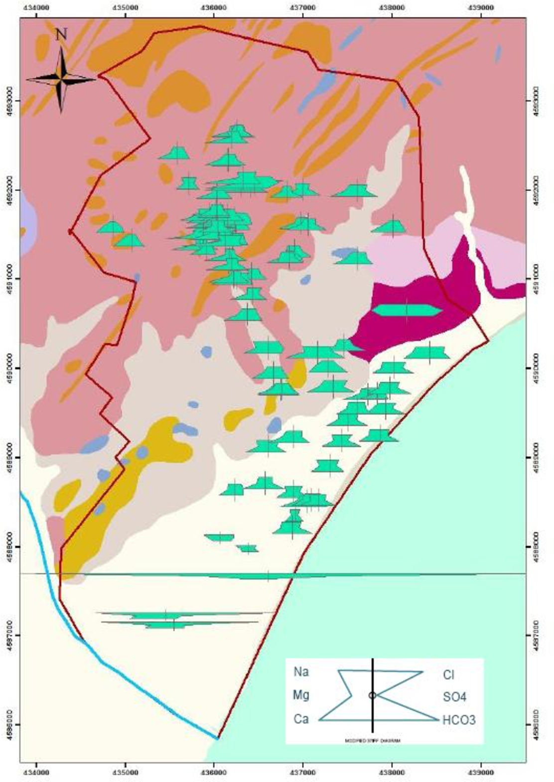 Figure 4.5. Map representing the Stiff diagrams of the Badalona shallower aquifer for the period 1997- 2001.This map was elaborated with the command Hydrochemical diagram tools.