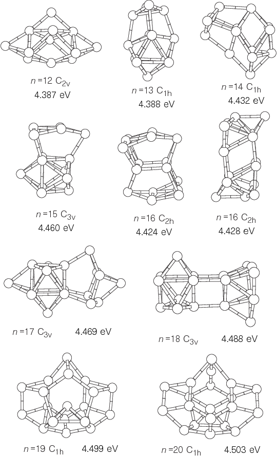 Figure 2 The LDA global minima for the Sin (n ¼ 12–20) neutrals. Cohesive energies per atom are indicated. The two geometries shown for Si16 are essentially degenerate.