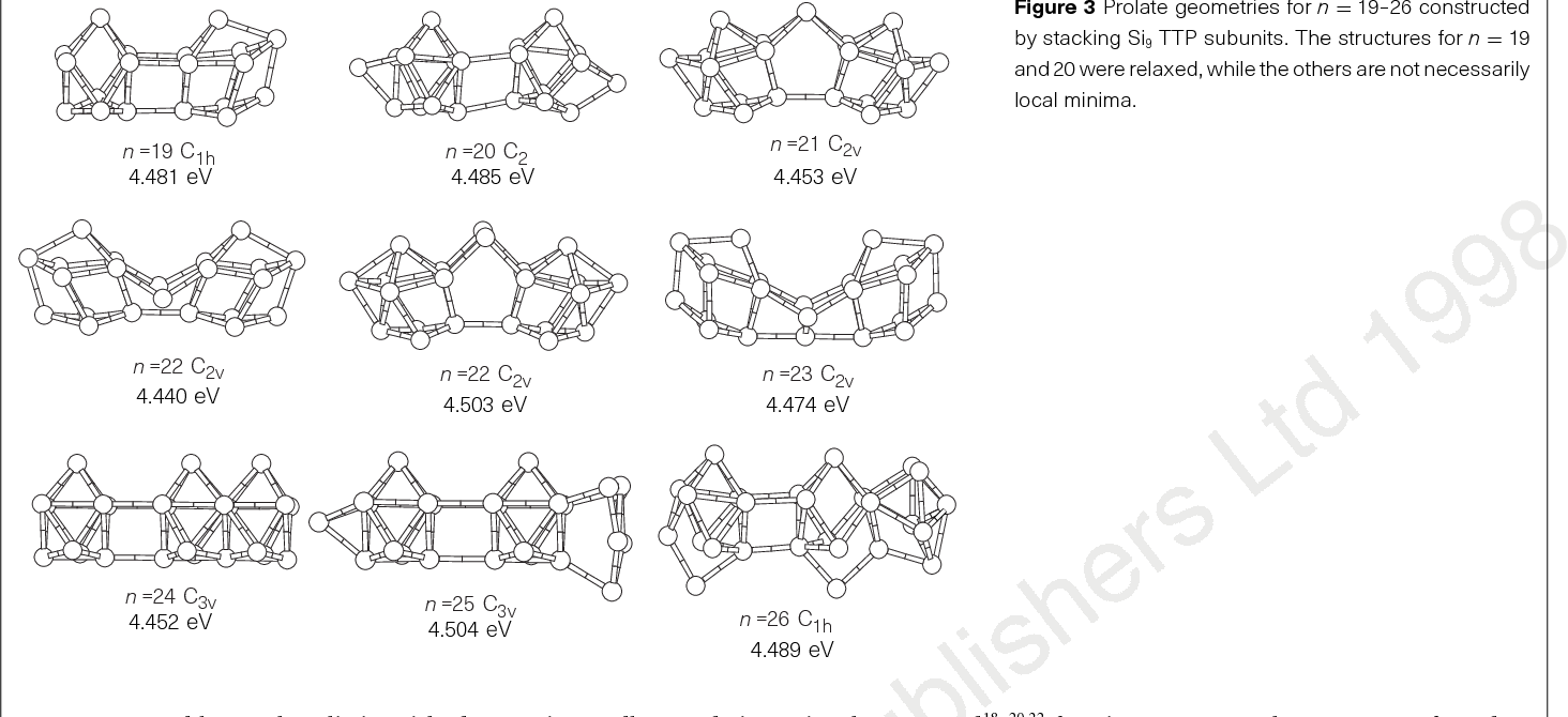 Figure 3 Prolate geometries for n ¼ 19–26 constructed by stacking Si9 TTP subunits. The structures for n ¼ 19 and 20 were relaxed, while the others are not necessarily local minima.
