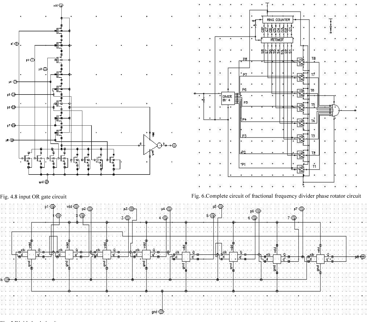Fig. 6.Complete circuit of fractional frequency divider phase rotator circuit
