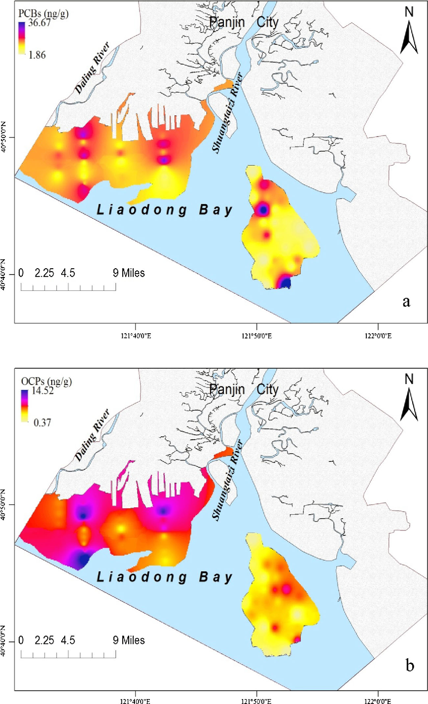 Fig. 3 Spatial distribution of PCBs (a) and OCPs (b) in surface sediments from sand flats of the Shuangtaizi Estuary