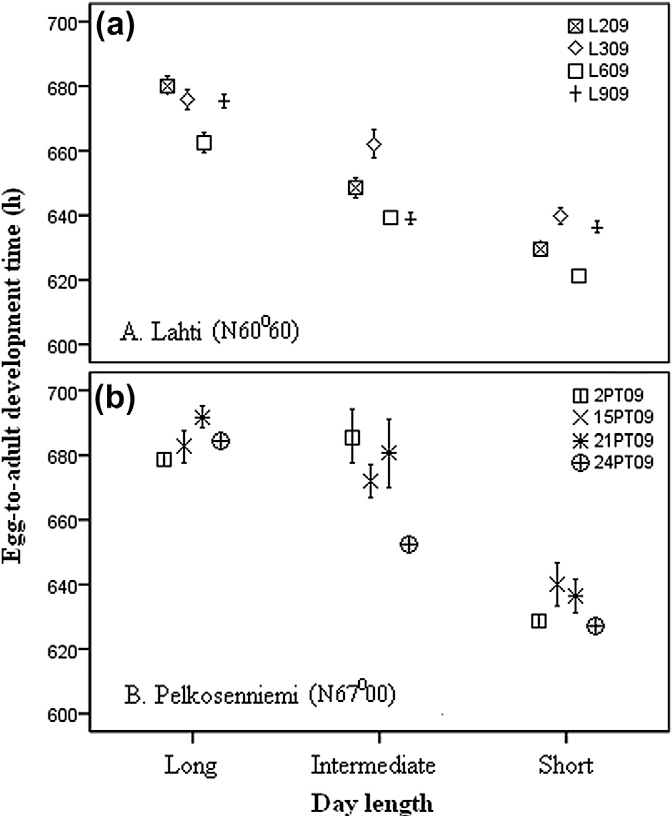 Fig. 1. The egg-to-adult development times (hours) of individuals from Lahti (a) and Pelkosenniemi (b) reared in population specific long, intermediate and short day lengths.