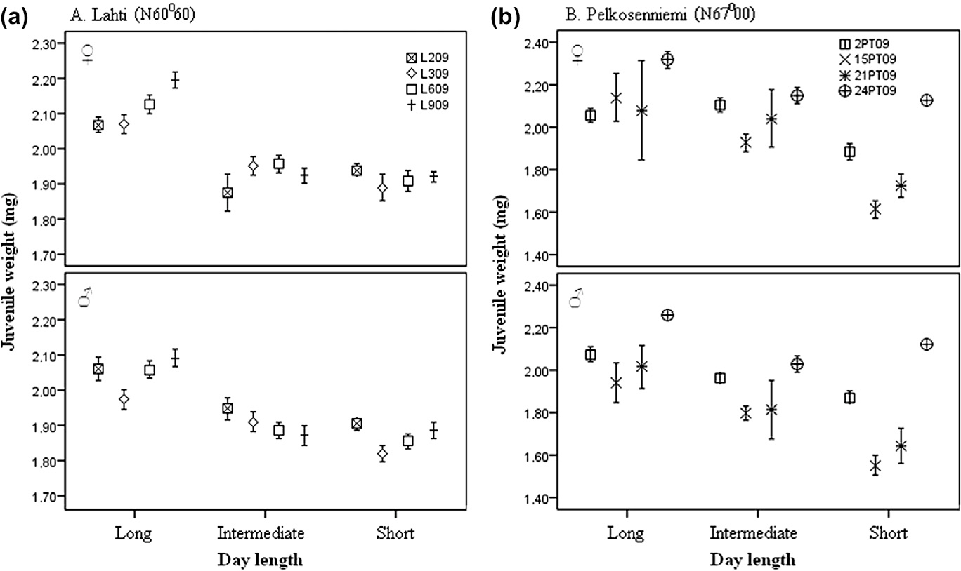 Fig. 2. Juvenile body weight (mg) of Lahti (a) and Pelkosenniemi (b) females and
